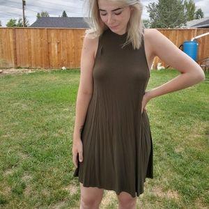 Green, high neck dress